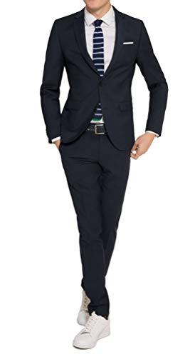 Michaelax-Fashion-Trade Konfirmationsanzug - Slim Fit - Herren Anzug in Schwarz oder Blau, Luigi/Elio (880 1420), Farbe:Blau(10), Größe:23