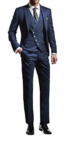 Suit Me, abito da uomo, 3 pezzi, vestibilità aderente, per matrimoni, feste, smoking, sacco, gilet, pantaloni Blu 40