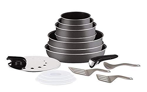 TEFAL L2048802 Batterie de cuisine 15 pieces INGENIO MINUTE - Gris anthracite