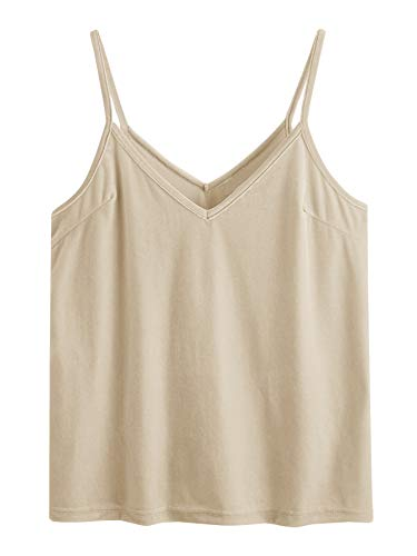 SheIn Women's Casual Basic Strappy Velvet V Neck Cami Tank Top X-Small Beige