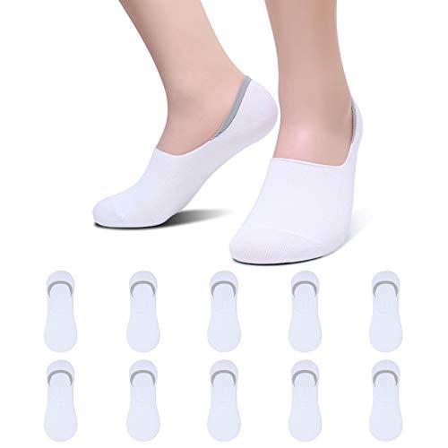 YouShow 10 Pares Calcetines Mujer Hombre Invisibles Algodón Antideslizante Algodon Silicona Calcetines(10x Blanco,35-38)