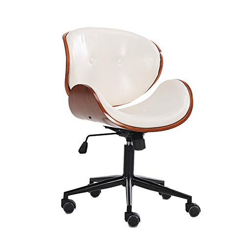 TKJG Büro Verstellbarer Bürostuhl Home Office Stuhl mit dickem Kissen Höhenverstellbarer leicht zu reinigen Nussbaum furniert/pu Leder (Color : White)