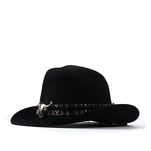 LQ-BNM Panamahut - Western-Cowboyhut Mit Breiter Krempe, Wollfilzhut for Männer Und Frauen Aus Jazz, Alu-Stier-Stirnband Mit Schwarzem Panama-Hut, 56-59 cm (Farbe : Schwarz, Größe : 56-59cm)