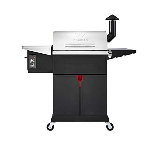 Z GRILLS ZPG-L600E 8 in 1 Wood Pellet Portable Steel Constructed Grill Smoker for Outdoor BBQ Cooking with Digital Temperature Control, Bottom Storage Area, 573 Sq In