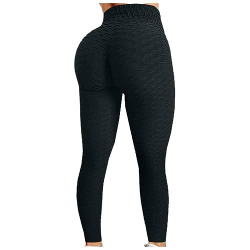 QTJY Pantalones de Entrenamiento de Cadera con Burbujas para Mujer, Pantalones de Yoga de Cintura Alta para Correr, Pantalones de Ejercicio con Push-up para Mujer, Pantalones para Correr BL