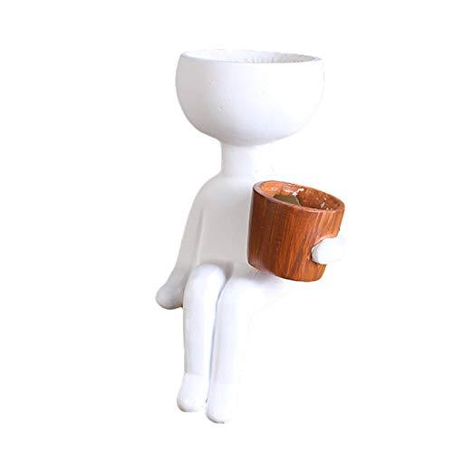Succulent Plant Pots Resin Black/White Head Planter Personality Body Plant Pots Indoor Body Plant Pots White Resin Flower Pot Nordic Decorative Vase Planter