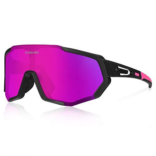 Queshark Gafas de Ciclismo Polarizadas Gafas de Sol Deportivas con Montura TR90 Gafas de Bicicleta Para Hombres Mujeres con 3 Lentes Intercambiables Anti-UV400