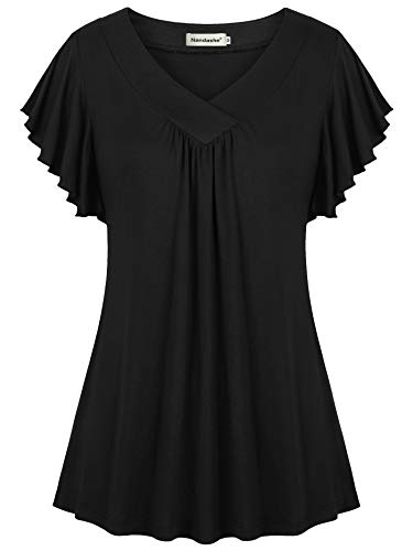 Nandashe Pleated Front Blouses for Women, Summer Petite 2018 Fashion Flying Sleeve Mandarine Collar Trend Knit Flare A-line Pure Color Plain Embellished Pullover Swingy T-Shirts Black Large