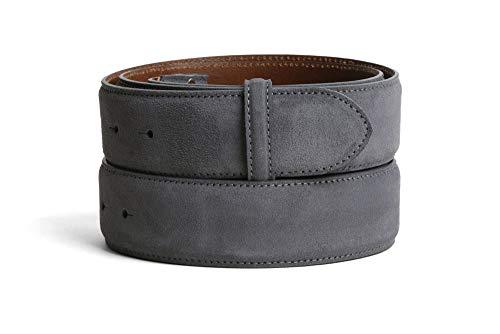 VaModa Ledergürtel Jeansgürtel Belt, Island grau, Länge=80cm, Druckknopfverschluß, ohne Schließe
