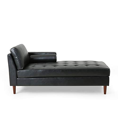 Christopher Knight Home Malinta Chaise Lounge, Midnight Black + Espresso