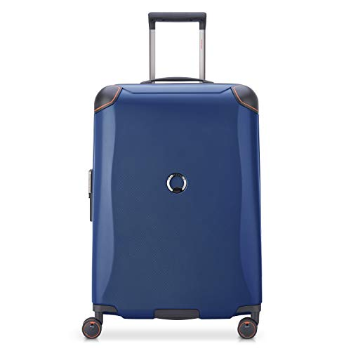 DELSEY Paris Cactus Hardside Luggage with Spinner Wheels, Navy, Checked-Medium 24 Inch