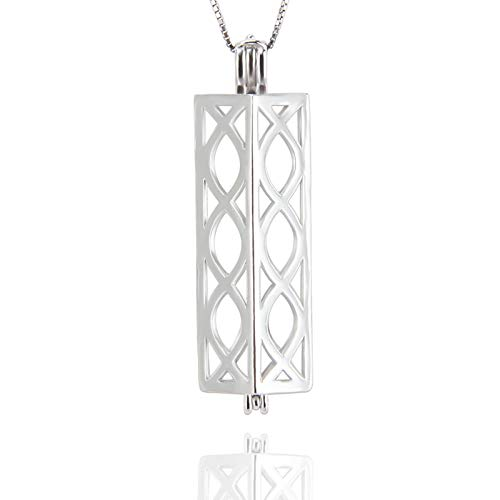 NY Jewelry 925 Sterling Silver Long Tube Pearl Cage Locket Pendants for Women Jewelry Making