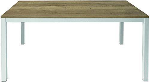 Tavolo Da Pranzo Allungabile Fino a 260 cm In Legno Con Gambe In Metallo Bolo Tavolino Consolle Salotto Salone Soggiorno Design Moderno Ed Elegante 160 x 75 x 90 cm Colore Bianco e Rovere