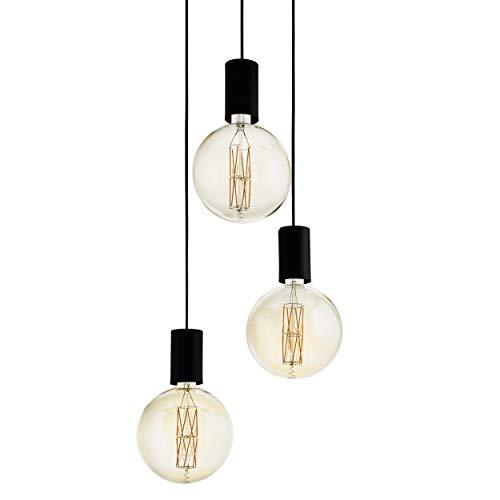 EGLO Pendelleuchte Pozueta, 3 flammige Hängelampe Vintage, Industrial, Modern, Hängeleuchte aus Stahl in Schwarz, Esstischlampe, Wohnzimmerlampe hängend mit E27 Fassung, Ø 34 cm