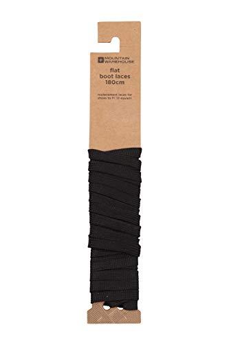 Mountain Warehouse Cordones Planos para Botas - De 180 cm, para 12 Ojales, herretes de plástico, compactos, fáciles de Guardar, Excelentes para Botas Negro Talla única