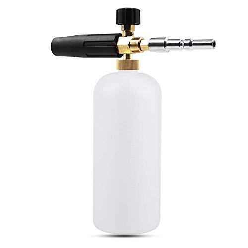 Schneeschaum Lanze schaumkanone Auto Wash Schaumlanze mit Verstellbarer Schaumstoff Düse, 1L Seifenspender Flasche und Faden Adapter für Hochdruckreiniger von Nilfisk/Kew/Alto Wap Calm