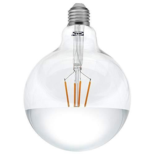 IKEA SILLBO LED-Glühbirne im Edison-Stil, E27, 370 Lumen, 125 mm, verspiegelte Oberseite, silberfarben