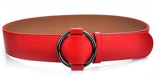Riemen Women Waist Belt Women's riem zonder naald round gesp ongedwongen dames riem glad riem jurk jurk riem geschikt for alle seizoenen en plaatsen (Kleur: Zwart) (Color : Red)