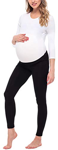 Be Mammy Leggins Premamá Largos Embarazo Lactancia BE20-253(Negro, XL)