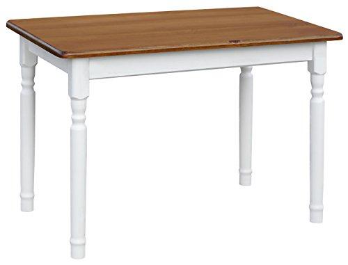 koma Esstisch Küchentisch 100x60cm Tisch MASSIV Kiefer Holz weiß Honig Landhausstil - NEU (Eiche)