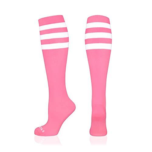 NEWZILL Compression Socks (20-30mmHg) for Men & Women, BEST Graduated Athletic Fit for Running, Nurses, Shin Splints, Flight Travel & Pregnancy. Boost Circulation (Stripes Pink/White, Small)