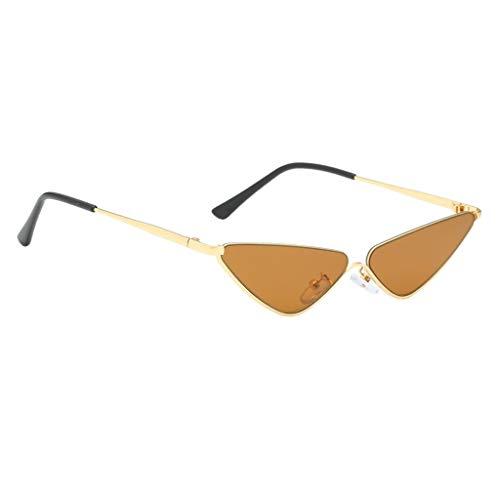 freneci Gafas de Sol Pequeñas Vintage Lady Cat Eye Designer Gafas de Sol Gafas Retro - café, tal como se describe