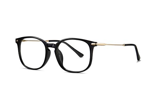 SKILEC Gafas Anti Luz Azul Gafas Ordenador Gafas Lectura Hombre Mujer con Marco de Metal Filtro Protección Azul UV Gafas Presbicia Hombre para PC, Gaming, TV, Lentes Transparentes (Negro Dorado)