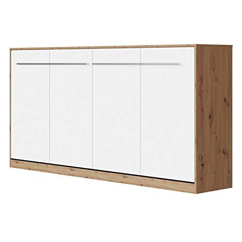 SMARTBett Standard 90x200cm Horizontal Roble Salvaje/Blanco | Cama Abatible, Cama De Pared, Cama Plegable, Cama Oculta