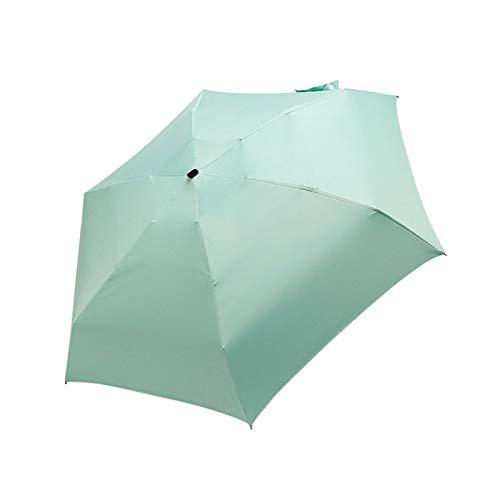 ミニ傘ポケットの女性が防風丈夫5折りたたみ太陽の傘ポータブル日焼け止めの女性のパラソル (Color : GN)