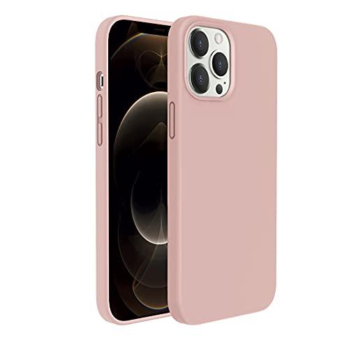 """Goodvish Silicone Custodia Cover Compatibile con iPhone 12 Pro Max Case (6.7""""), Tutto Corpo Protettiva Morbido Custodia, Cover Antiurto con Fodera in Microfibra,Rosa chiaro"""