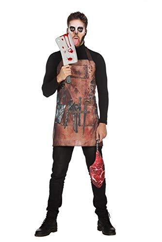 shoperama Bloody Butcher Set blutige Metzger-Schürze mit Fleisch-Tasche Halloween Horror Herren-Kostüm Serien-Mörder Serien-Killer