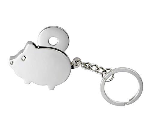 Jeton de caddie porte-clés en forme de cochon porte-bonheur avec puce en métal dans une boîte cadeau - 4,5 x 3 cm - Cadeau pour femmes et hommes - Porte-bonheur - jeton de shopping