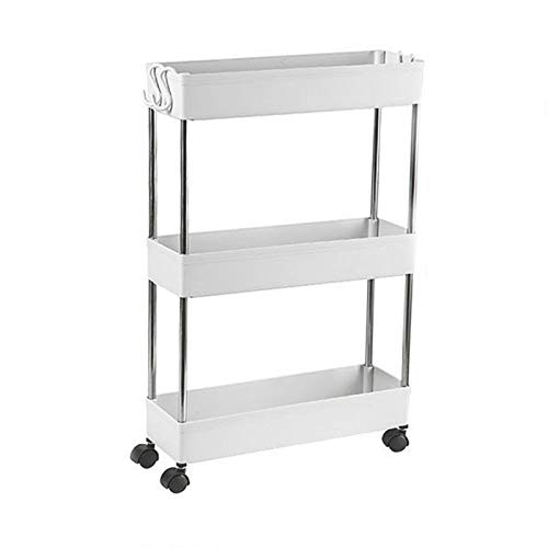 3 Tier Slim Storage Cart with Wheels Mobile Shelving Unit Organizer Rolling Utility Cart Bathroom Storage Shelf Rack Plastic&Stainless Steel for Bedrooms Kitchen Dressers Narrow Places White