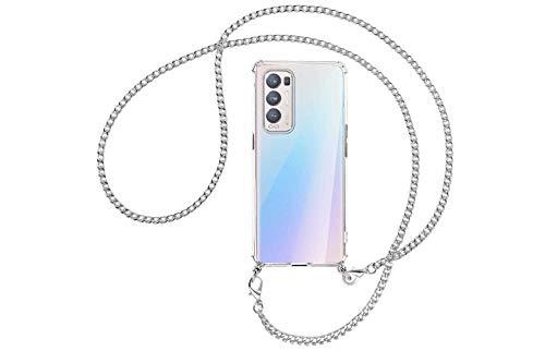 mtb more energy® Collar Smartphone para OPPO Find X3 Neo (6.55'') - Cadena de Metal (Plata) - Funda...