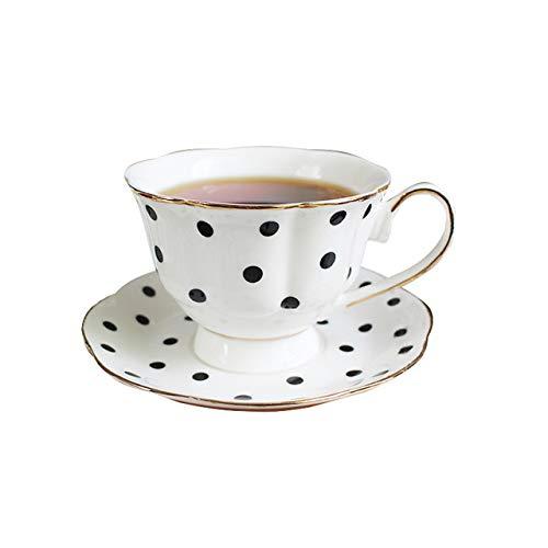 IXL 200ml Patrón de Lunares y Rayas Negros Retro Bone China Taza de cerámica Taza de Capuchino de Porcelana Taza de café y Plato de té inglés Juego de platillo, Lunares