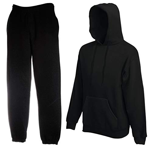 2er-Set Fruit of the Loom Hausanzug Sportanzug Jogginghose & Kapuzensweatshirt (XXl, Schwarz)