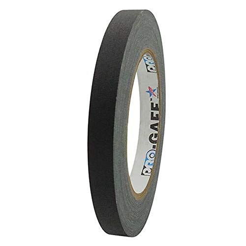 Pro Tapes Permacel Pro-Gaff fluoreszierendes Gaffer-Tuchband, 12 mm breit, 23 m lang, Klebeband, Schwarz