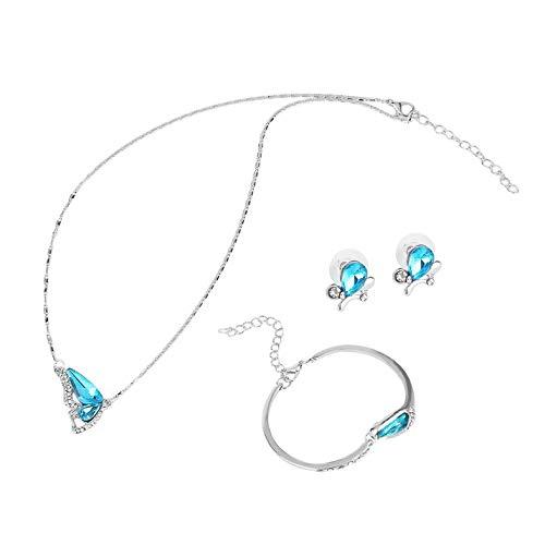 Appearanice Conjunto de Joyas de Mariposa Collar Pendiente Pulsera Conjunto de Joyas Plateadas de Cristal