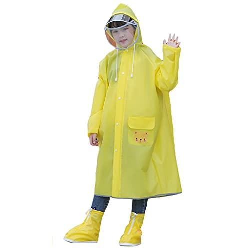 GDSSX Impermeable impermeable para niños con bolsa escolar poncho de lluvia con rayas reflectantes poncho de emergencia (color amarillo, tamaño: 3XL)