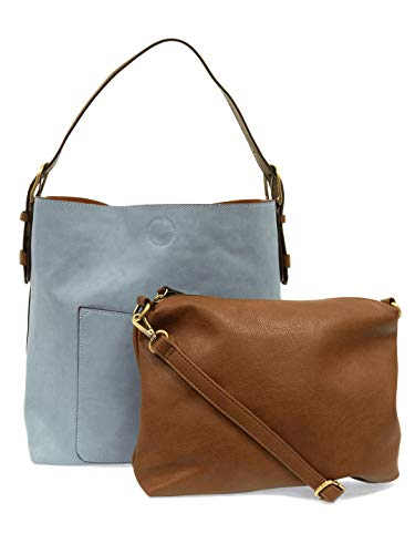 """2-in-1 Hobo Handbag TOTE BAG: 2"""" (height) x 14"""" (width) x 6"""" (depth), 6""""11"""" strap drop, Magnetic snap top closure, Exterior open pocket, 100% polyurethane ADDITIONAL DETACHABLE INSERT CROSSBODY: 12"""" (width) x 9"""" (height), Interior zip pocket and two ..."""