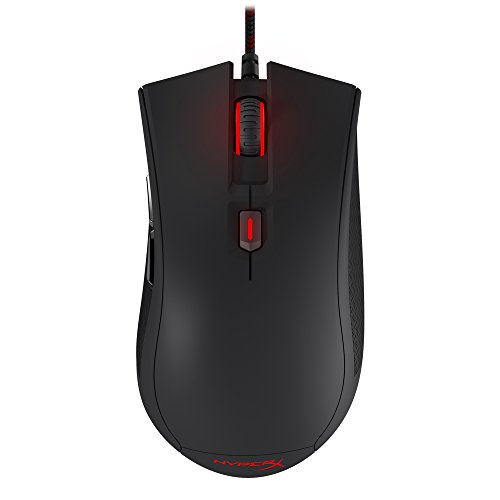 HyperX Pulsefire FPS - Gaming Mouse, Pixart 3310 Sensor, Four Preset DPI Settings 400-800-1600-3200, 6 Buttons, Ergonomic Shape, Braided Cable, Mouse Weight 95g (HX-MC001A/AM),RED
