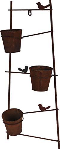 Rustic Metal Ladder Garden Herb Flower Plant Planter with 3 Pots
