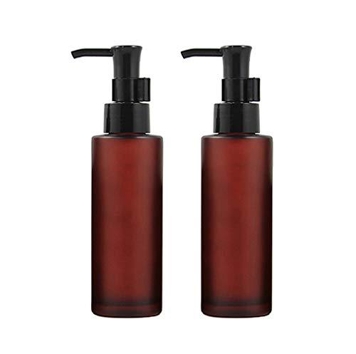 2 botes de botella de cristal esmerilado de ámbar vacío, 100 ml, con bomba negra, para maquillaje, dispensador de envases de almacenamiento para emulsión de aceite esencial y líquido de tóner
