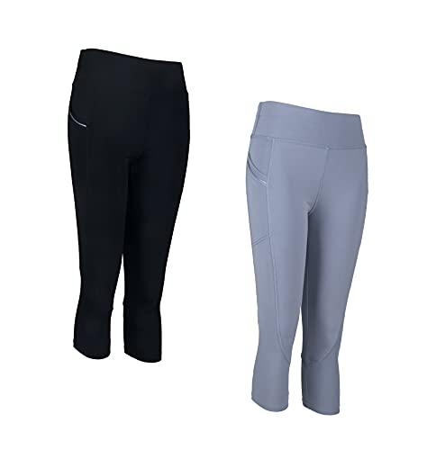 PF Damen Sportswear Set 2-teiliger Sport-Outfit Gepolsterter Sport-BH und 3/4 Leggings mit Taschen Stretch-Fit-Sportkleidung Italienisches Design (9701-Combo1, L-XL)
