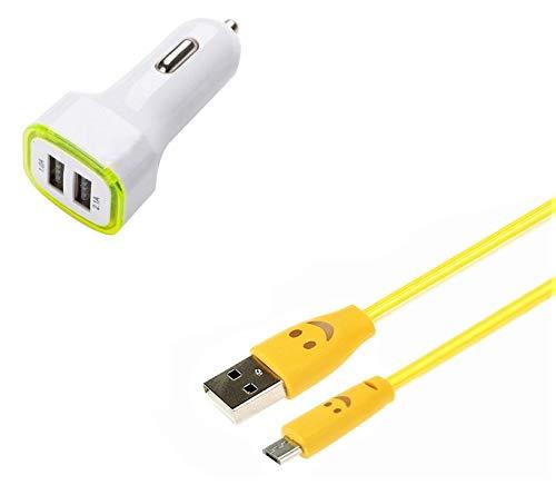 Pack Cargador de Coche para Xiaomi Redmi Go Smartphone Micro USB (Cable Smiley + Doble Adaptador LED Encendedor de Cigarrillo) (Amarillo)