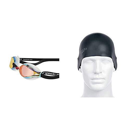 Speedo Fastskin Speedsocket 2 Gafas de Natación, Unisex Adulto, Blanco/Mirror, Talla Única + Plain Moulded - Gorro de natación, tamaño único, color negro