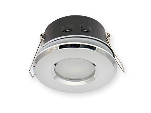 Vochtige ruimtes IP20/44 inbouwspot GU10 inbouwframe downlight waterdicht Ø73mm boorgat aluminium incl. GU10 fitting voor LED-lampen, rond, chroom