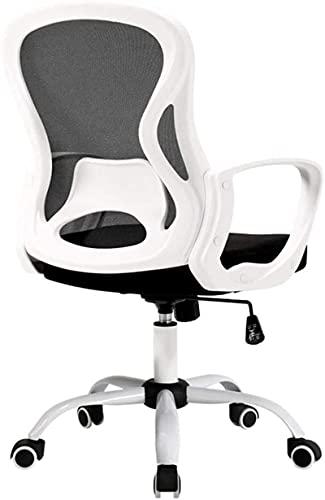 Silla de oficina de taburete decorativo de taburete con ruedas, silla giratoria de altura ajustable para oficina sala de estar de la sala Silla de oficina cómoda fácil de mover (color: blanco, Tamaño: