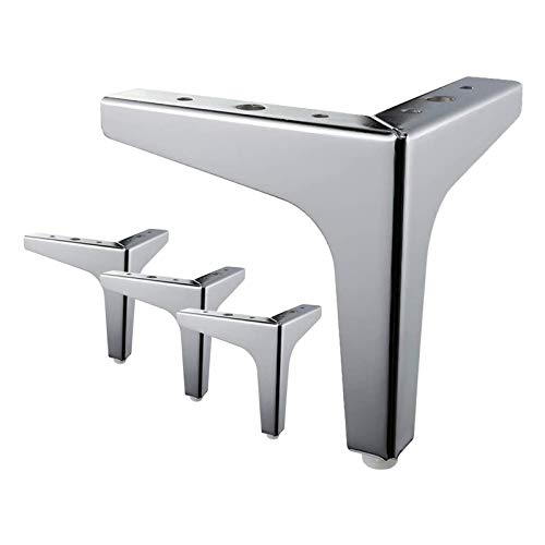 XBSXP 4er Set Modern Furniture Feet, modern rutschfeste verschleißfeste Metall dreiecksform Schrankbeine Sofa Stuhl Ersatz Kleiderschrank Stuhlfüße Möbelbeine,Silber,13cm