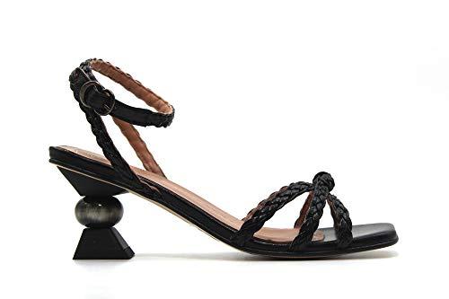 PEDRO MIRALLES - 17176 Negro - Sandalia de piel, tacón retro de 7cm, trenzado, suela de goma, para: Mujer color: NEGRO talla:39